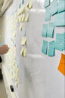 Imagem de uma pessoa colando post its em uma sessão de Ideação e Co-criação